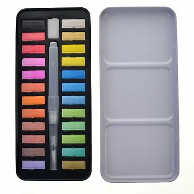 24 Colors Portable Solid Watercolor Set Solid Water Color Paints Set with Brush