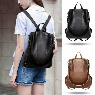 Women Lady Girls Backpack Travel Shoulder Bag PU Leather Rucksack Laptop Bag