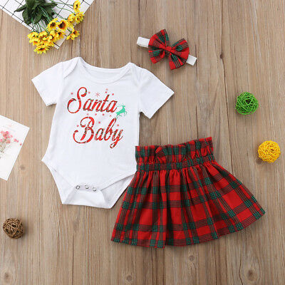 AU Baby Girl Romper Kid Tutu Skirt Headband Outfit Christmas Casual Clothes 3pcs