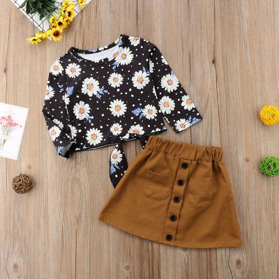 US Toddler Kid Baby Girl Daisy Floral Tops+Suede Skirt Dress 2PCS Outfit Clothes