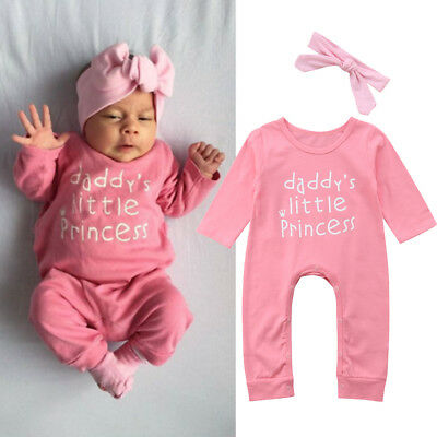 AU Stock Baby Girls Bodysuit Romper Sunsuit One-pieces Clothes Headband Outfits