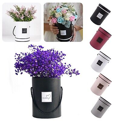 Fashion Handheld Paper Round Bouquet Flower Living Vases Florist Plant Box