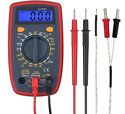 Digital Multimeter Mini Multi Tester Measures Volts Amps Ohms Temperature with
