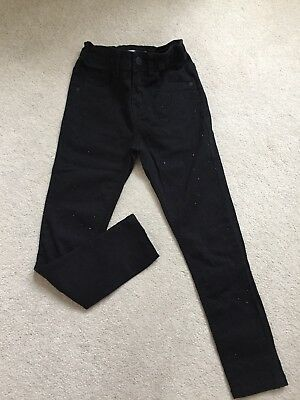 Girls Black Skinny Jeans With Sparkle Detail, M&s, Age 8-9 Years