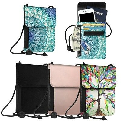 RFID Blocking Passport Holder Neck Strap Travel Wallet Premium PU Leather Case