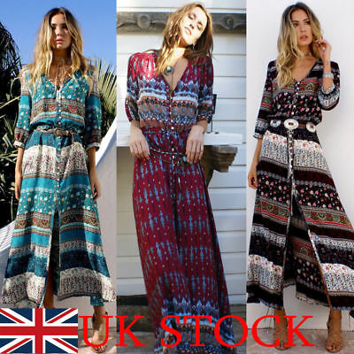 Bohemian Floral Boho Long Maxi Dress Cocktail Party Sundress Size UK Womens 8-22