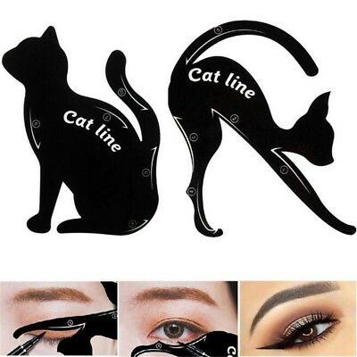 2pcs Cat Eye Shadow Righello Stamp Eyeliner Template scheda attrezzi trucco CM
