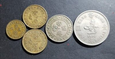 Hong Kong  5c to 1 dollar coin set 1950-78