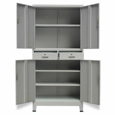 Office Cabinet Storage Cupboard Metal 2 Drawers Filing Furniture  90x40x180 cm