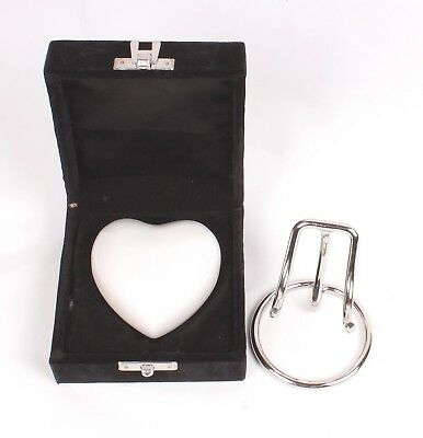 Small heart cremation ashes urn keepsake funeral memorial pearl white box stand