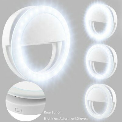 Portable Selfie LED Ring Fill Light Camera Photography For Android i Phone White