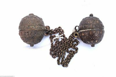 Pair of Indian hand engraved design lime paste/tobacco box hanging chain. i22-35