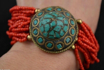 Tibet collectibles decorative copper inlay turquoise bead Bracelet