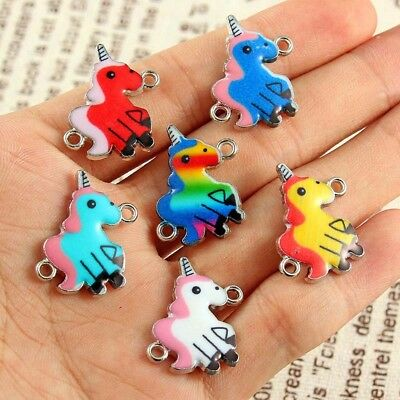 10Pcs Mixed Color Unicorn Connector Charm Bead DIY Jewelry Making Craft Gift