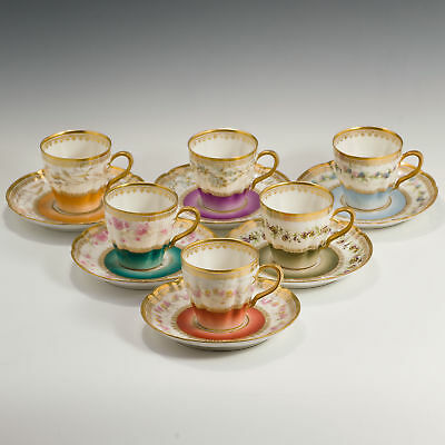 Haviland Limoges Fine Porcelain Harlequin Tea Set 6 Six Demitasse Cups & Saucers