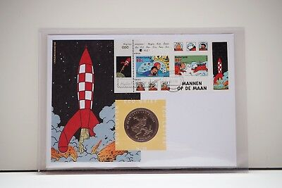 Kuifje Tintin - Ecu coin, FDC stamps 1999 Moon Lune Maan