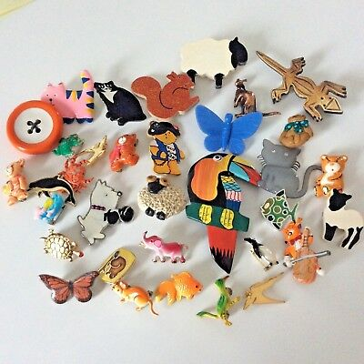 Vintage Jewellery Mixed Job Lot Of 34 Mostly Animal Brooches, Badges & Pins