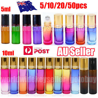 200Pcs 5/10ml Thick Gradient Glass Roll On Bottles Steel Roller Essential Oil O