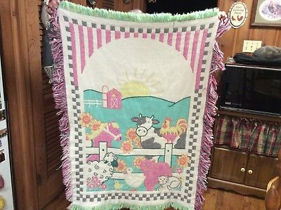 Farm Life Cow Rooster Sheep Cat Duck Reversible Heavy Cotton Afghan Throw