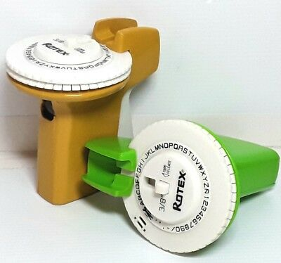 Rotex Label Maker Rotary Letters Plastic Yellow Green Vintage