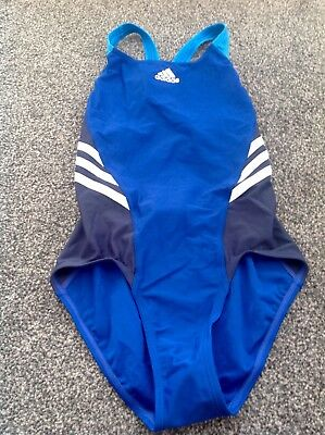Adidas Girls Swimming Costume,blue Mix Colour,age 11-12 Years