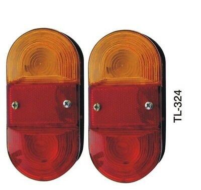 Pair Tail Rear 5 Function Light Lamp For Trailer Towing with Bulbs 12V