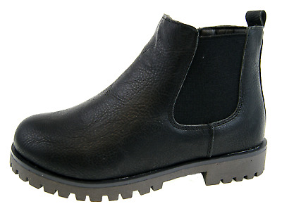 Boys Chelsea Ankle Boots Faux Leather Black School Shoes Kids Warm Winter Size
