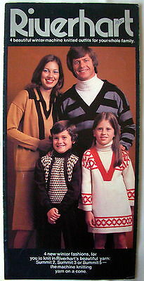 Riverhart Knitting Machine Pattern Booklet - 4 outfits for the family - VGC
