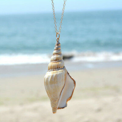 Fashion Women's Simple Seashell Long Necklace Pendant Chain Simple Gift Jewelry
