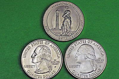 2013- P D S  BU Mint State (Perry's Victory) US National Park Quarter(3 Coins)