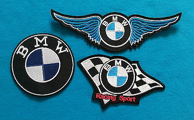 3 LOT BMW  RACING SPORT Embroiderd Easy Iron Or Sewn On Patches Free Shipping