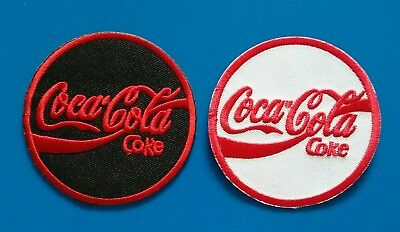 "2 VALUE LOT COCA COLA 3. ""  Embrodered Iron Or Sewn On Patches Free Ship"