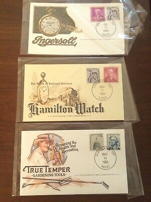 1984-85 Advertising stamp covers Ingersoll Hamilton watches True Temper tools
