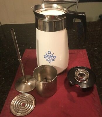Vintage CORNING WARE 9 Cup Coffee Pot Stove Top Percolator CORNFLOWER  BLUE USED