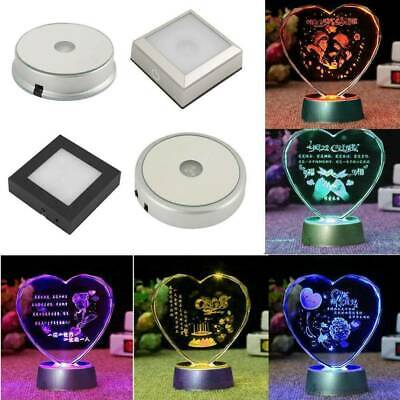 4 led lights mirror circle bathroom mirror 246 led colorful light crystal display base stand holder home decor craft four colour changing mirror top glass round