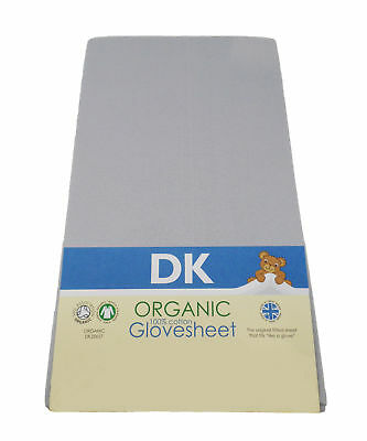 DK Glovesheets Dove Grey GOTS Organic Cotton  Fitted Travel Cot Sheet 95 x 65cm