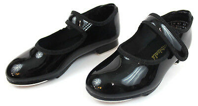 Theatricals Dance Footwear Tap Shoes Girls Kid's Size 8 Black Patent Strap