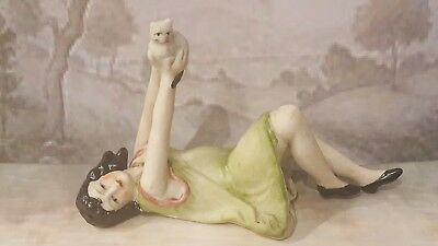 Beautiful Pin Cushion Half Doll ~1920'S Style Sweet Little Girl With Kitten Cat