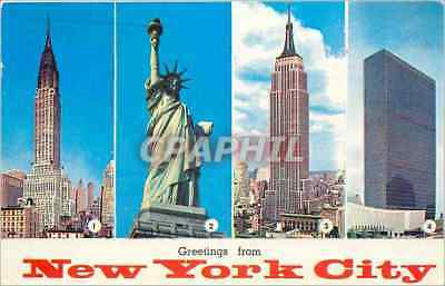 CPM Greetings from New York City Chrysler Building Statue of Liberty Empire Stat