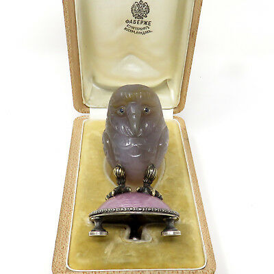 NYJEWEL Fabergé Imperial Russian Silver Jade Sapphire Owl Paperweight
