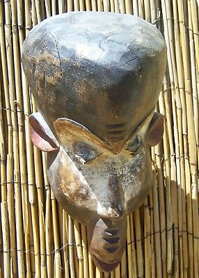 "African Art Baule Monkey Mask from Ivory Coast 12"" Tall"