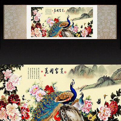 Chinese Silk Scroll Painting Peacock Peony Home Office Decoration(花开富贵图)