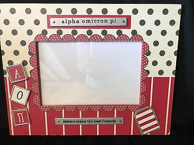 Alpha Omicron Pi Sorority Sisters Picture Frame Wood with Metal Plaques