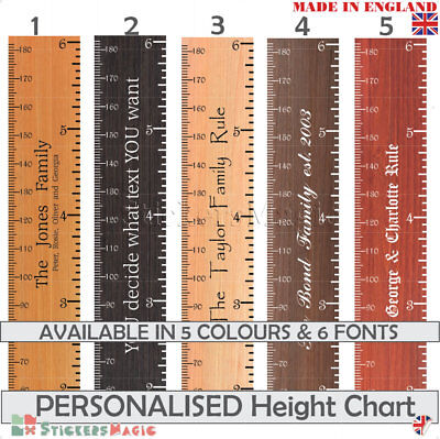 PERSONALISED Height Chart Wall Sticker Wooden Ruler / House Warming Present Gift