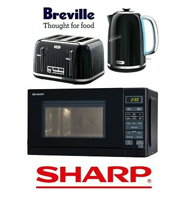 Black Breville Impressions Kettle and Toaster Set & Sharp Microwave - New