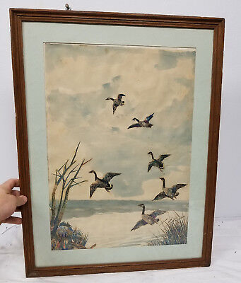 Antique Vintage Sporting Collage Painting Ducks Hunting Paper Money