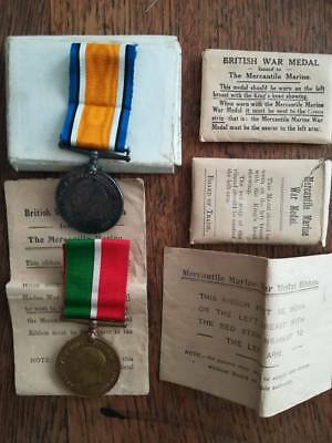 Original 1914 1918 British WWI War medal and Mercantile medal, same person