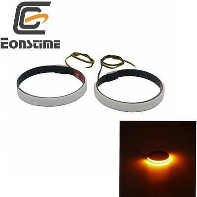 Motorcycle Fork Turn Signals Light LED Strips For Clean Custom Look Amber 2pcs