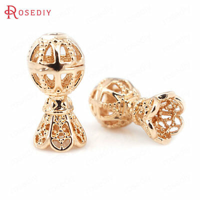 (31328)6PCS 8x15MM Quality Gold Color Beads with Tassel Caps Necklace Connector
