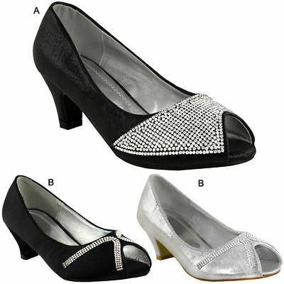 Kids Childrens Low Heel Party Shoes Diamante Sparkly Sandal Evening Wedding Size